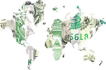 double exposure with world map and american dollar collage as background
