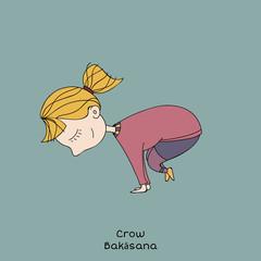 Kid yoga pose. crow