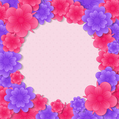 Background with flowers. Mother's Day, Woman's Day and Valentine's Day. Vector.