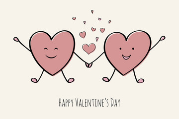 Valentine's Day - cute poster with heart doodles. Vector.