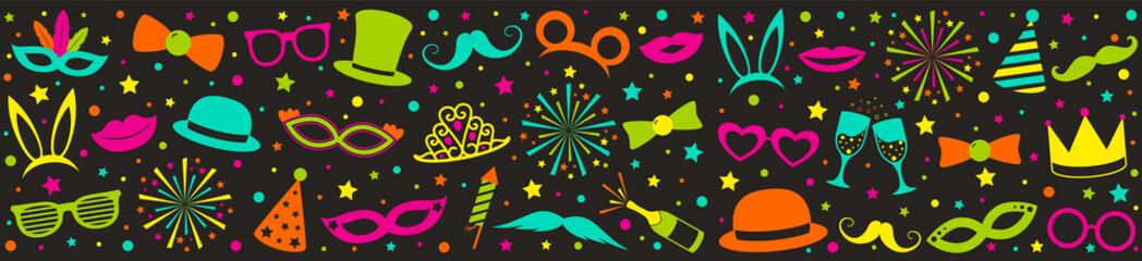 Multicoloured party banner with funny costumes. Carnival, photo booth and birthday party. Vector.