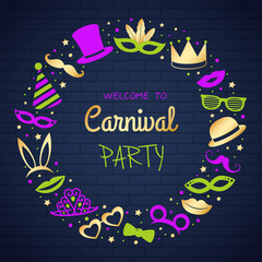 Carnival Party - poster with funny icons. Vector.