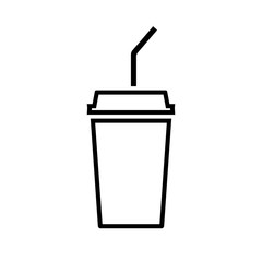Disposable beverage cup line icon. Drink paper cup with lid and straw. Vector Illustration