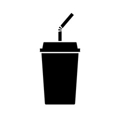 Disposable beverage cup icon. Drink paper cup with lid and straw. Vector Illustration