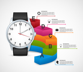 Design infographics with clock. Can be used for business presentations, information banner, visualization idea, timeline or web design.