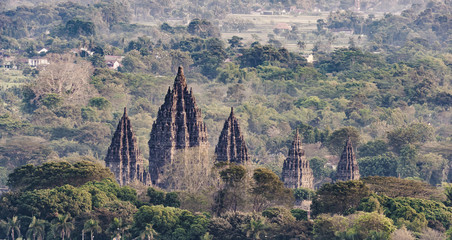 Prambanan Temple viewed from high angle perspective