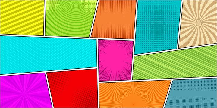 Comic book horizontal bright background