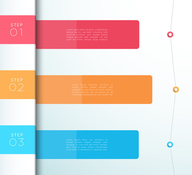 Vector Colorful 3 Step List Infographic Diagram