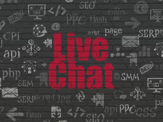 Web design concept: Painted red text Live Chat on Black Brick wall background with  Hand Drawn Site Development Icons