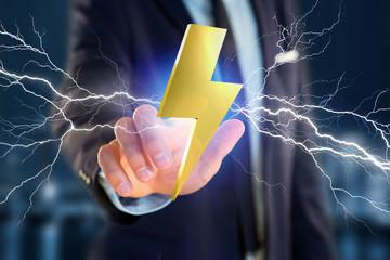 Thunder lighting bolt symbol displayed on a futuristic interface - 3d rendering