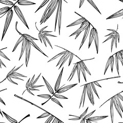 Vector seamless outline bamboo leaves pattern. Black and white hand drawn background. Design for fashion textile print, asian spa and massage, cosmetics package, furniture materials.