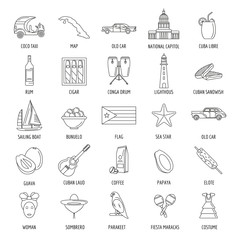 Outline Cuba icons with state sovereignty elements national and cultural traditions and nature symbols isolated vector illustration