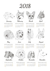 Calendar for 2018 with hand drawn dog sketches. Unique dog breed for calendar for new year.