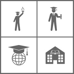 Vector Illustration Set Office Education Icons. Elements of graduate, Internet training and Library