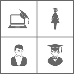 Vector Illustration Set Office Education Icons. Elements of Graduation cap and laptop, graduate student, Avatar and Avatar with Graduation Cap