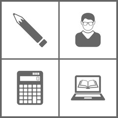 Vector Illustration Set Office Education Icons. Elements of Pen, Avatar, vector calculator and ebooks
