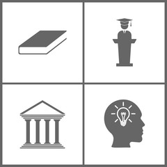Vector Illustration Set Office Education Icons. Elements of book, Graduate standing near tribune, icon of court building and head with bulb