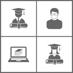 Vector Illustration Set Office Education Icons. Elements of graduation cap and diploma of student, avatar, ebooks and graduation cap and diploma