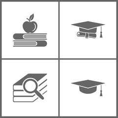 Vector Illustration Set Office Education Icons. Elements of Apple and book, graduation cap and diploma black web, Book search and Graduation cap