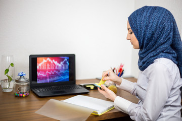 Covered young Muslim with hijab, in office, business and finance, laptop on office desk, economy, accounting