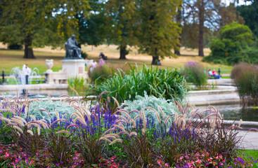 London, UK. Italian gardens in Kensington, fountain and flowers
