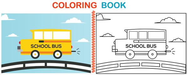 School bus coloring book vector