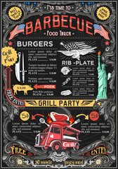 Fast food truck festival menu American BBQ Grill brochure street food poster design. Vintage party invite with hand drawn graphic. Vector food menu template for hipster flyer or board.