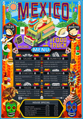 Fast food truck festival menu Mexican taco chili pepper burrito brochure street food poster design. Vintage party invite with hand drawn graphic. Vector food menu template for hipster flyer or board