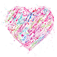 The  paint  heart with splashes and drops  for Valentine's Day or weddings