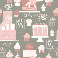 Hand drawn cakes and cupcakes. Wedding dessert bar with cake. Sweet table.  Vector  seamless  pattern