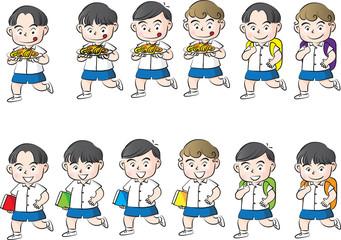 school boy eating