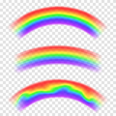 Transparent vector rainbow isolated on background. Set of rainbows in arch shape. Fantasy concept, symbol of nature