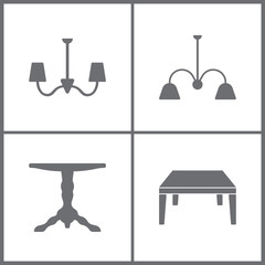 Vector Illustration Set Office Furniture Icons. Elements of Sofa icon