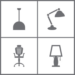 Vector Illustration Set Office Furniture Icons. Elements of Office chaire and Lamp icon