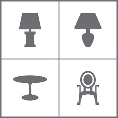 Vector Illustration Set Office Furniture Icons. Elements of Lamp, Table and Armchair icon