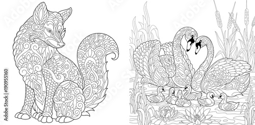 Coloring Page. Adult Coloring Book. Wild Fox animal. Swan birds ...