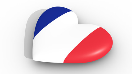 Heart in the colors of France flag, on a white background, 3d rendering side.