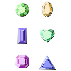 Set of diamonds of different cut shapes
