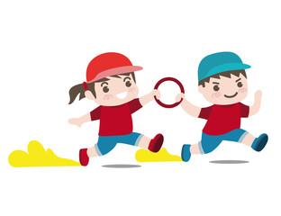 運動会女の子と男の子リレーベクターイラスト