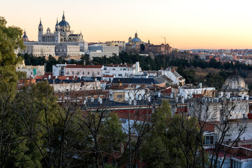 Sunset view of Royal Palace and Almudena Cathedral in City of Madrid, Spain