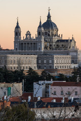 Fotobehang Madrid Sunset view of Royal Palace and Almudena Cathedral in City of Madrid, Spain