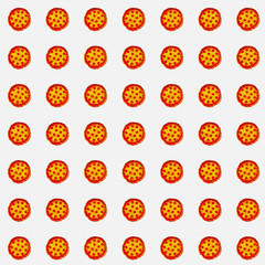 Array of pizzas on white background for gift card, product advertisement, or web graphics