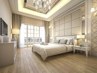 3d rendering modern luxury classic bedroom with marble decor Wall mural