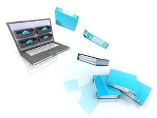 computer documents folder . 3d Illustration.