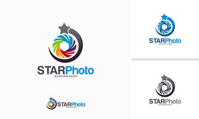 Star Photography logo design concept, Lens Star logo template vector