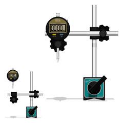 Digital dial gauge with magnetic base on transparent background