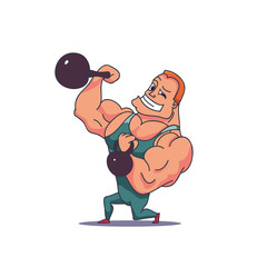 Cartoon Character Muscle man with Kettlebells. Vector
