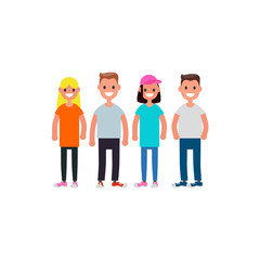 Flat design Characters team. Modern society concept. Vector