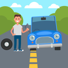 Flat Design Car Driving Characters. Car sharing. flat tire change. Vector