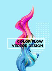 Modern colorful flow poster. Wave Liquid shape in blue color background. Art design for your design project. Vector illustration